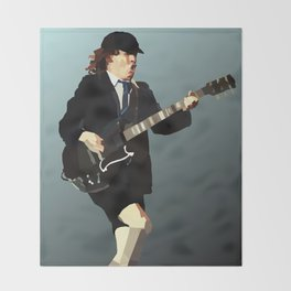 Low Polygon Portrait of Angus Young Throw Blanket