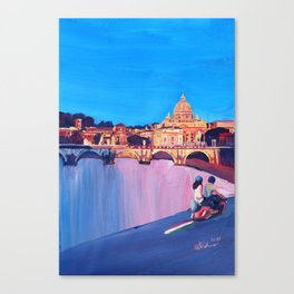 Rome Scene with Motorcycle and view of Vatican Canvas Print