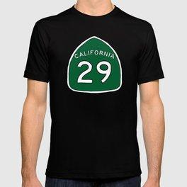 Hand Drawn Green California 29 Highway Sign Napa Valley T-shirt