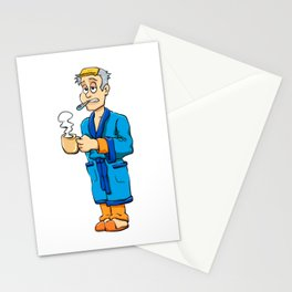 Man sick with flu Stationery Cards