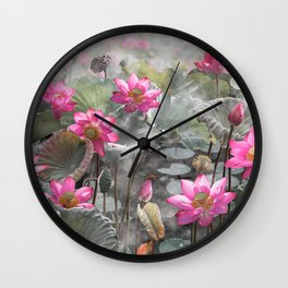 Beautiful pink lotus flower in lake Wall Clock
