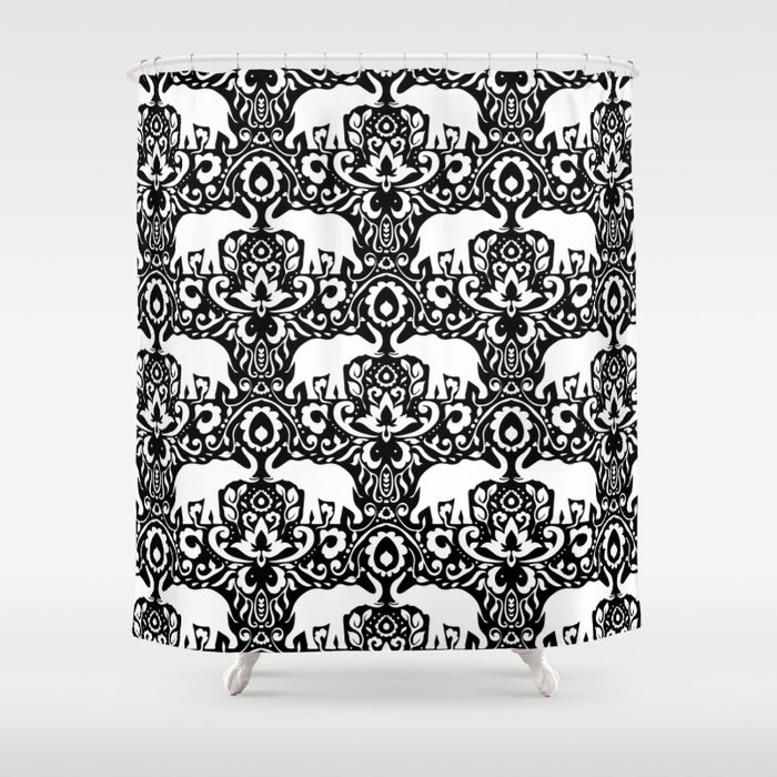 Elephant Damask Black And White Shower Curtain By