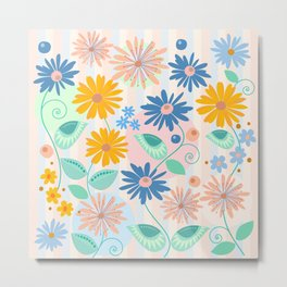 Decorative flowers and leaves Metal Print