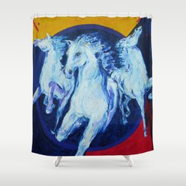 My Dream: Three Horses from the Stars Shower Curtain
