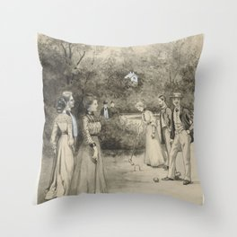 Men and women play croquet, Anna Maria Kruijff, in or before 1905 Throw Pillow