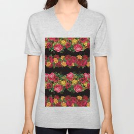 Vertical Rose Floral Garlands in Black Unisex V-Neck