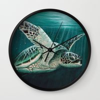 "biology Wall Clocks featuring ""Moonlit"" - Green Sea Turtle, Acrylic by Amber Marine"
