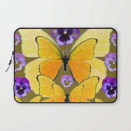 SPRING PURPLE PANSY FLOWERS & YELLOW BUTTERFLIES GARDEN Laptop Sleeve