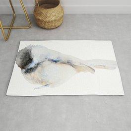 Watercolor Coal Tit Painting Rug