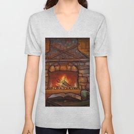 Fireplace (Winter Warming Image) Unisex V-Neck