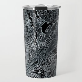 Silver Metallic Floral On Black Travel Mug