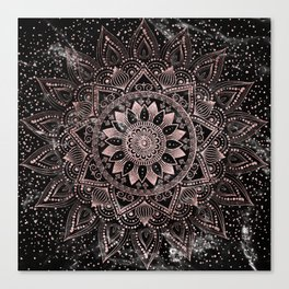 Elegant rose gold mandala dots and marble artwork Canvas Print
