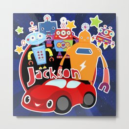Jax-Red Car + Robots Metal Print