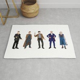 Doctor Who minimalist portraits 9th 10th 11th 12th 13th Rug