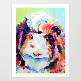Abyssinian Guinea Pig in Color Art Print