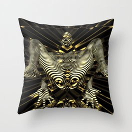 8788-KMA Resistance is Futile Gold Android Ready to Serve Abstract Sensual Figure Throw Pillow