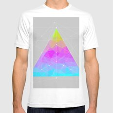 The Dots Will Somehow Connect (Geometric Pyramid) MEDIUM White Mens Fitted Tee