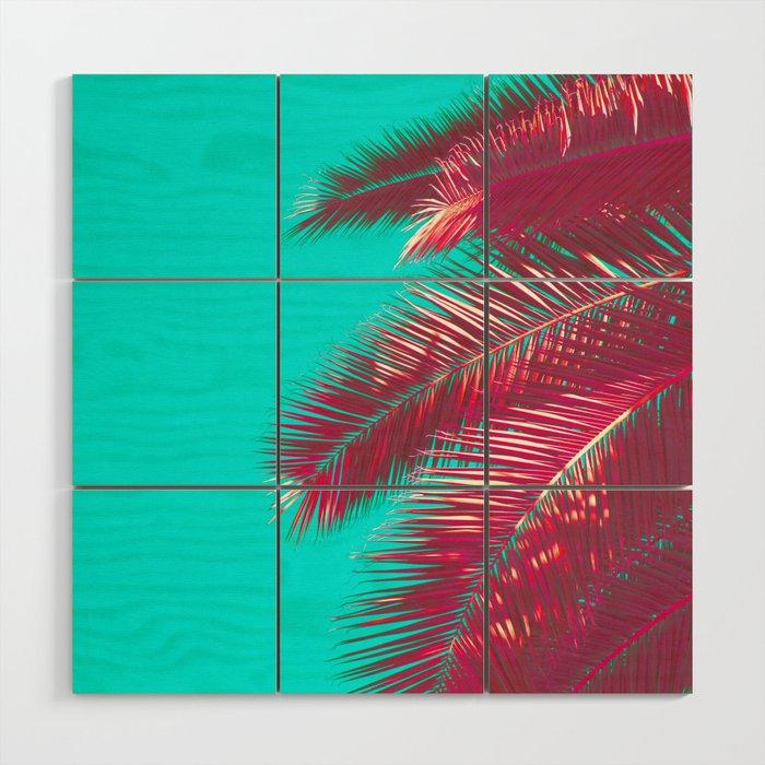Neon Palm Wood Wall Art