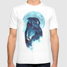 Midnight Owl Mens Fitted Tee LARGE White