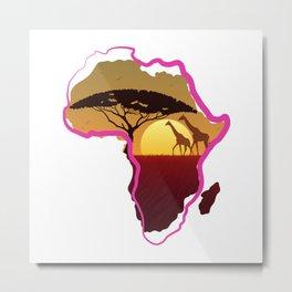 African Neon Metal Print