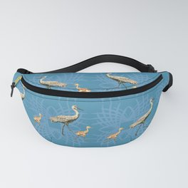 Sandhill Cranes with Babies Pattern Blue Fanny Pack