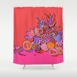 Fruit Still Life//Bananas Oranges Mangos Shower Curtain