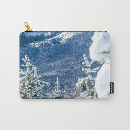 Powder Forest // Through the Trees Blue Snow Cap Mountain Backdrop Carry-All Pouch