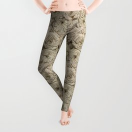 Book Page Flower Roses Leggings