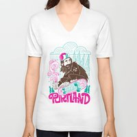 sasquatch V-neck T-shirts featuring Portland Sasquatch  by tim weakland