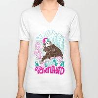 portland V-neck T-shirts featuring Portland Sasquatch  by tim weakland