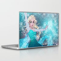 frozen elsa Laptop & iPad Skins featuring Frozen Elsa by Teo Hoble
