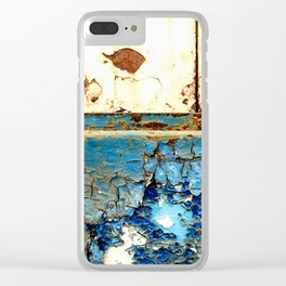 Industrial Rust on Blue Metal Clear iPhone Case