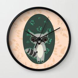 Raccoon with Paw Prints Wall Clock