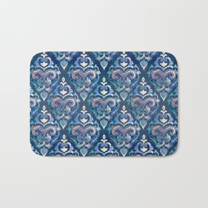 Persian Floral pattern blue and silver Bath Mat