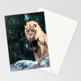 Lion King of the Emerald Panthera Galaxy Stationery Cards