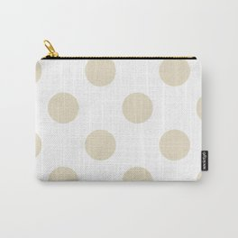 Large Polka Dots - Pearl Brown on White Carry-All Pouch