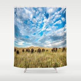 Grazing - Bison Graze Under Big Sky on Oklahoma Prairie Shower Curtain