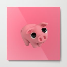 Rosa the Pig is Shy Metal Print