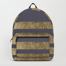 Elegant mauve purple faux gold stripes pattern Backpack
