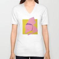 butt V-neck T-shirts featuring Pink Butt by vooduude
