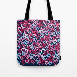 Colorful  Hearts - Graffiti Style Tote Bag