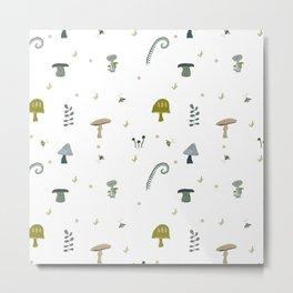 Whimsical Autumnal Mushroom Repeat Pattern - Green & White Metal Print