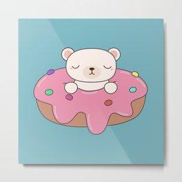 Kawaii Cute Polar Bear Donut Metal Print