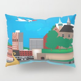 Oslo, Norway - Skyline Illustration by Loose Petals Pillow Sham