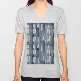 Simply Shibori Lines in Indigo Blue on Lunar Gray Unisex V-Neck