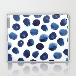India - blue paint, ink spots, design, watercolor brush, dots, cell phone case Laptop & iPad Skin