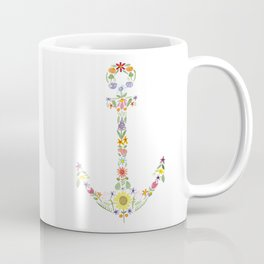 Anchor Floral Watercolor Coffee Mug