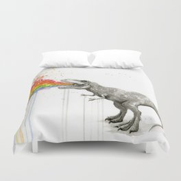 T-Rex Dinosaur Rainbow Puke Taste the Rainbow Watercolor Duvet Cover