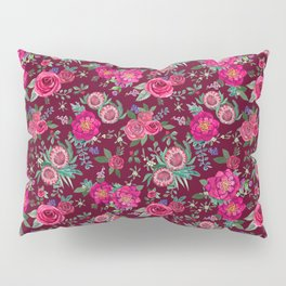 Burgundy Floral Thanksgiving , fall & winter floral in watercolor Pillow Sham