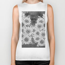 Watercolor Sunflower Pattern (Black and White) Biker Tank